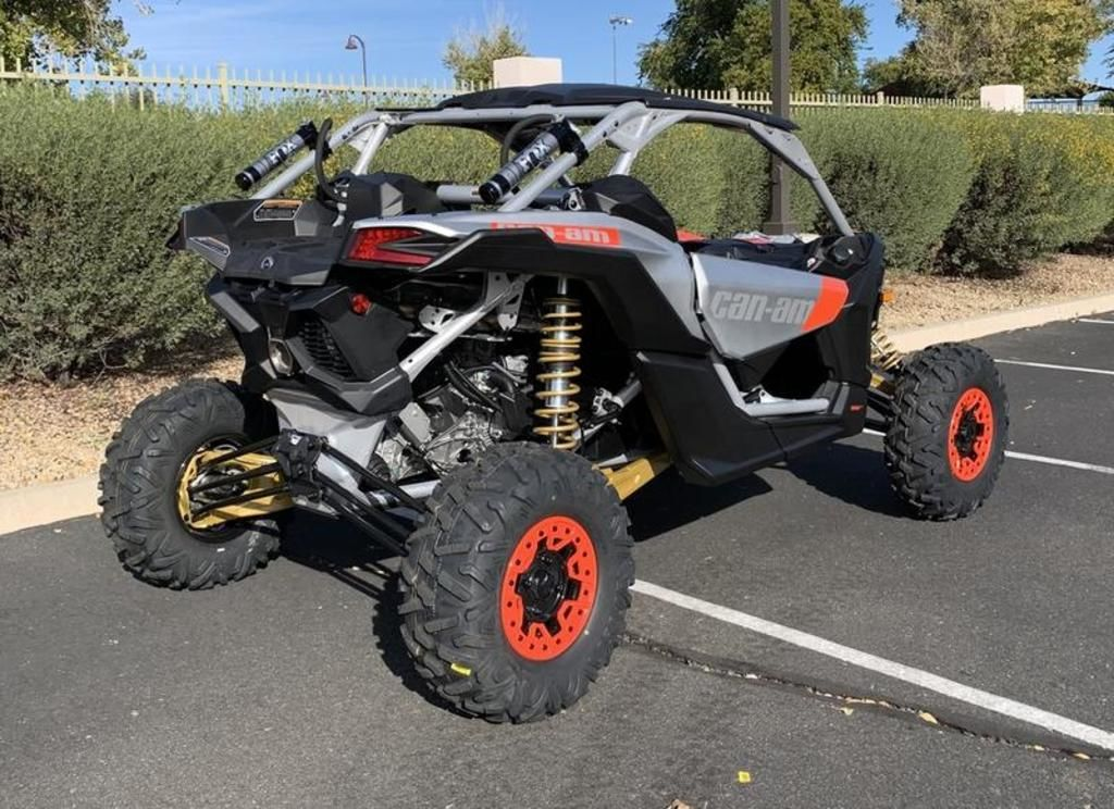 New 2020 Can-Am Maverick™ X3 X™ rs Turbo RR Gold, Can-Am Red & Hyper Silver Side by Side